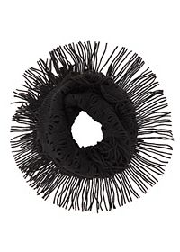 Fringed Open Knit Infinity Scarf