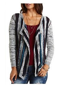 Mixed Stitch Cascade Cardigan Sweater