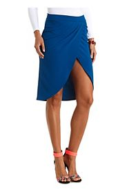 Pleated Tulip Midi Skirt