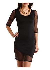 Asymmetrical Bodycon Dress with Mesh