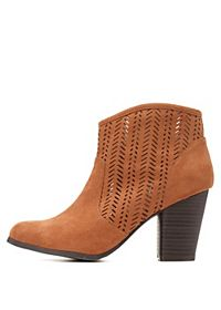 Qupid Perforated Chunky Heel Booties
