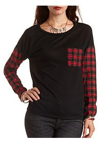 Plaid Colorblock Pullover