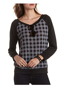 Houndstooth Plaid Raglan Top