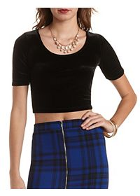Short Sleeve Velvet Crop Top