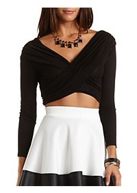 Long Sleeve Ruched Wrap Crop Top