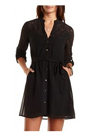 Lace-Yoke Chiffon Shirt Dress