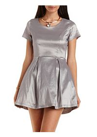 Metallic Skater Dress with Crinoline