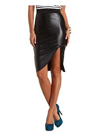 Faux Leather Envelope Skirt