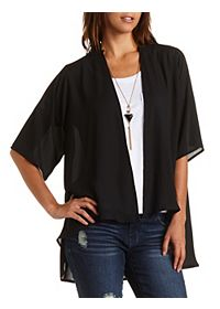 Embroidered Back High-Low Kimono Top