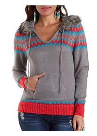 Faux Fur Trim Hooded Sweater