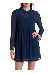 Long Sleeve Chiffon Babydoll Dress