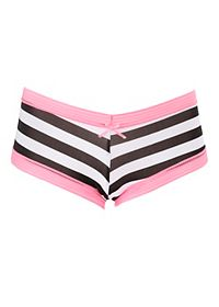 Lace-Trim Striped Cheeky Panties