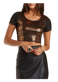 Metallic Aztec & Mesh Crop Top