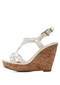 Strappy Cork Platform Wedges
