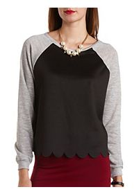 Scalloped Mixed Media Raglan Sweatshirt