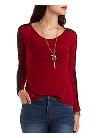 Lace Trim Long Sleeve Top