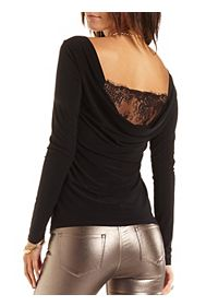 Long Sleeve Lace Cowl Back Top