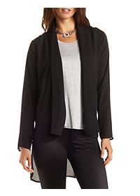 High-Low Chiffon Blazer
