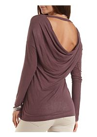 Cowl Back Long Sleeve Top
