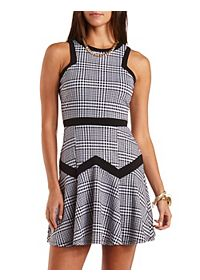 Fluted Houndstooth Skater Dress