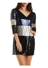 Sequin Color Block Shift Dress