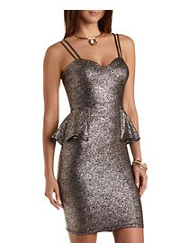 Metallic Sweetheart Peplum Dress