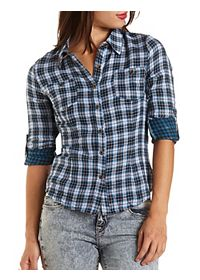 Mixed Plaid Button-Up Top