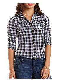 Ruched Sleeve Button-Up Plaid Top