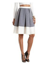 Color Block Scuba Knit Midi Skirt