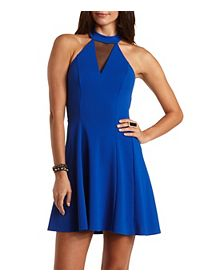 Mesh Trim Mock Neck Skater Dress