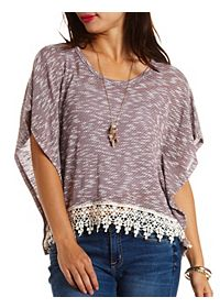Crochet Trim Marled Poncho Top