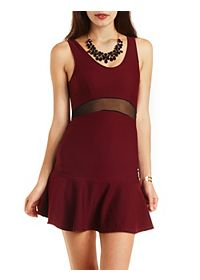 Mesh Cut-Out Fluted Skater Dress