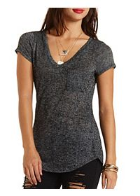 Marled V-Neck Pocket Tee