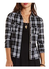 Serape-Trim Button-Up Plaid Top