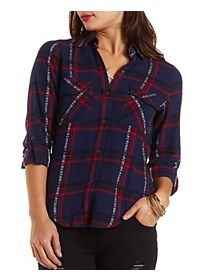 Tribal Plaid Button-Up Flannel Top