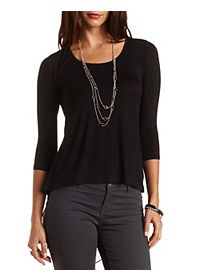 Knit & Chiffon High-Low Tee