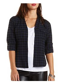 Checked Plaid Button-Up Top