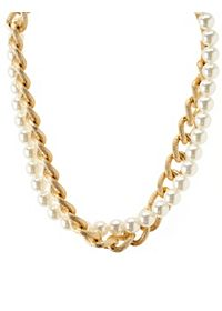 Pearl & Chain Collar Necklace