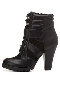Lace-up Chunky Heel Work Booties