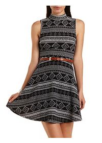 Mock Neck Tribal Print Skater Dress