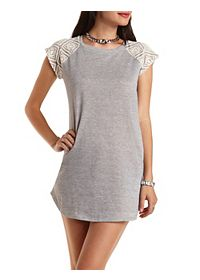 Crochet Raglan Sleeve Shift Dress
