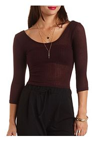 Three-Quarter Sleeve Crop Top