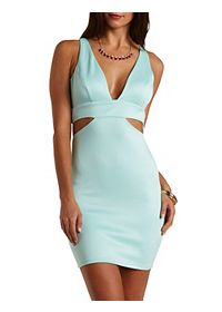 Deep V Bodycon Dress with Cut-Outs