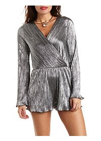 Crinkled Metallic Long Sleeve Romper