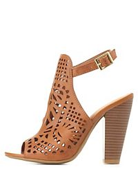 Bamboo Laser Cut-Out Slingback Heels