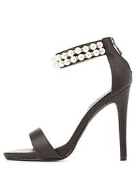 Dollhouse Pearl-Embellished Single Strap Heels
