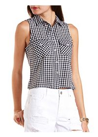 Gingham Sleeveless Button-Up Top