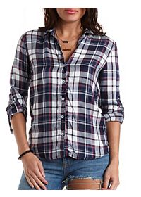 High-Low Plaid Button-Up Top
