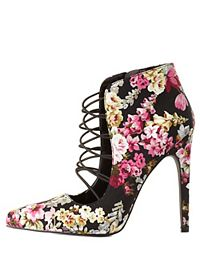 Qupid Caged Floral Pumps