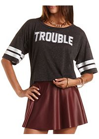 "Varsity Tee with ""Trouble"" Graphic"